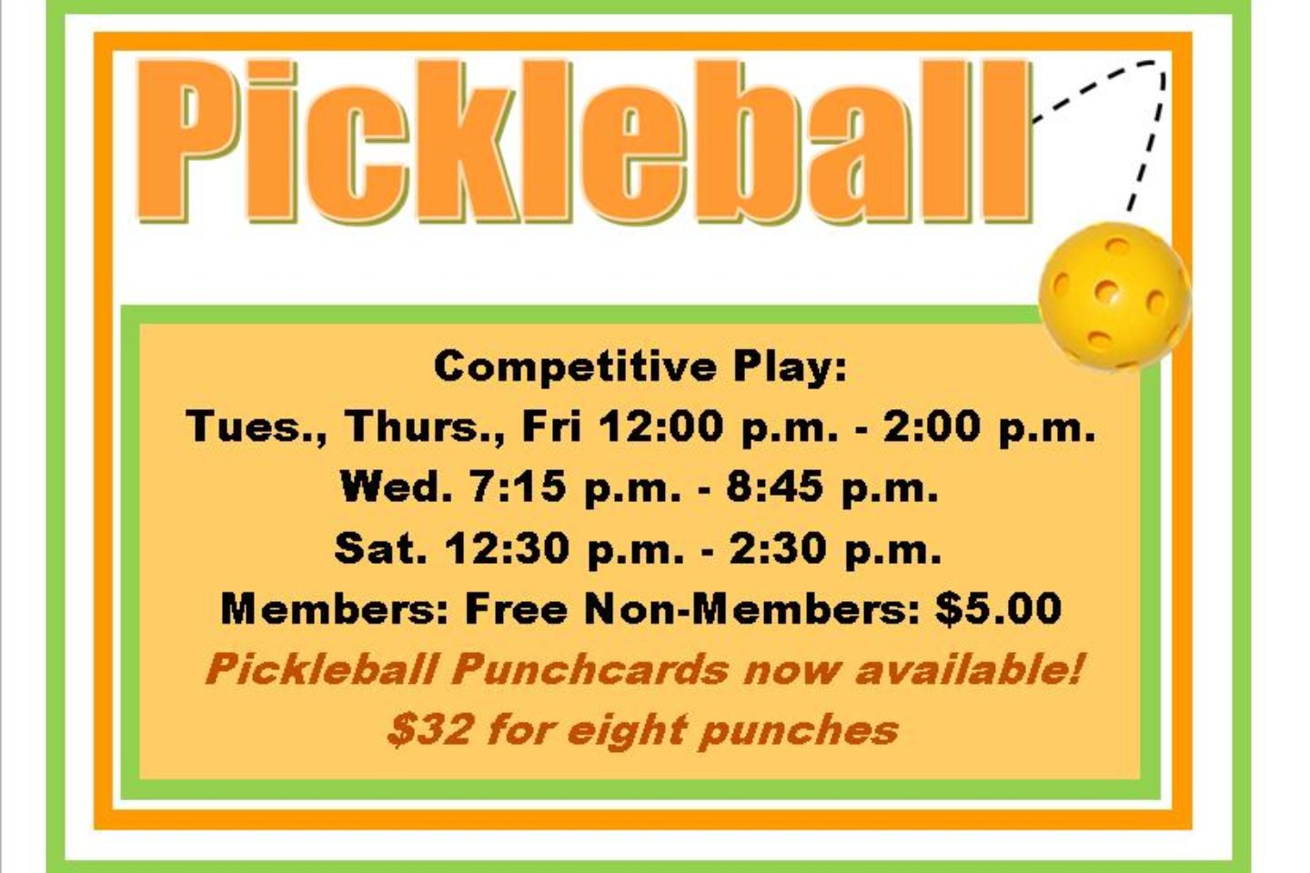 Pickleball times
